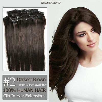 """CLIP IN REMY HUMAN HAIR EXTENSIONS 14""""-30"""" #2 darkest brown Customized accept"""