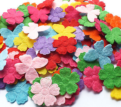 100 Mixed Felt Fabric Applique Flower Butterfly Embellishment Card Making Craft