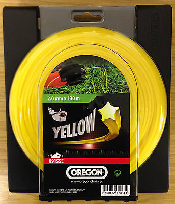 OREGON STARLINE yellow nylon strimmer line 2mm x 130m yellow trimmer line