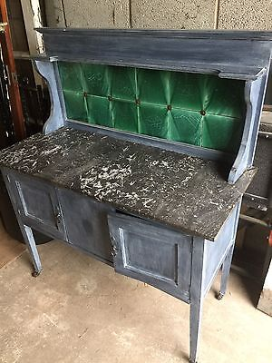 Victorian Hand Painted Grey Oak Wash Stand with Marble Top and Back. Antique
