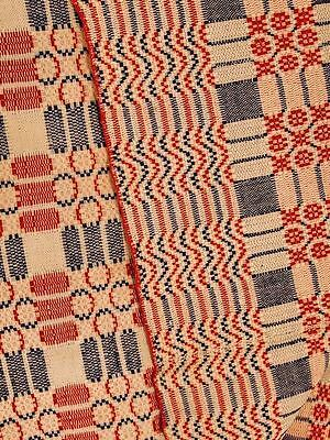 Jacquard Coverlet Civil War Era Pennsylvania  Red/Blue  PA 69 x 86