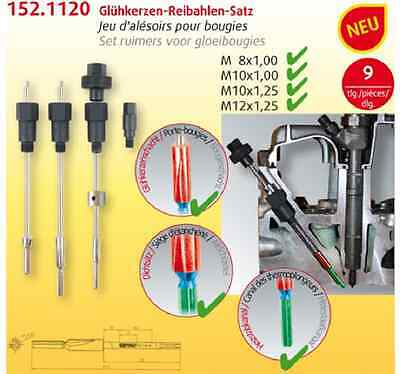 KS TOOLS glow plugs-reamer set, 9-piece M8/M10 152.1120 Extractor MB NEW