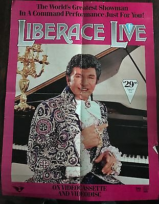 "LIBERACE Rare 1983 Promotional Poster 17 3/4"" x 24"" Video store wall poster"