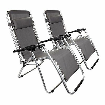 2 x Grey Textoline Zero Gravity Chair Garden Pool Reclining Folding Sun Lounger