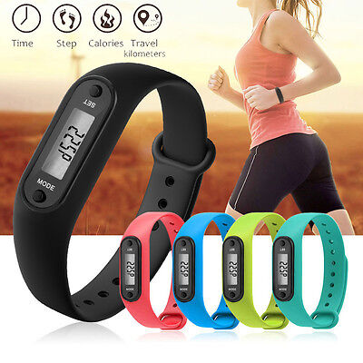 Run Step Walk Watch Bracelet Pedometer Calorie Counter LCD Distance Wrist Band