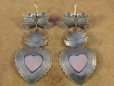 BIG Mexican Mexico Sterling Silver & Copper Burning Heart Frida Earrings