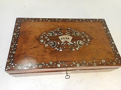 Antique Mother of Pearl inlaid Playing Card Box  ref 3066