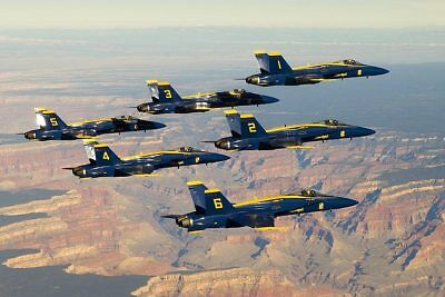 BLUE ANGELS FLYING IN FORMATION OVER GRAND CANYON 8x12 SILVER HALIDE PHOTO PRINT