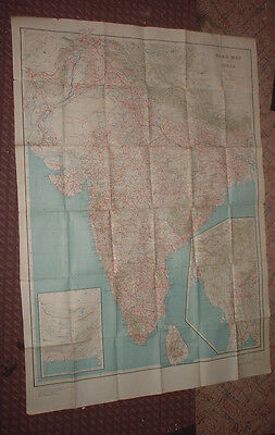 "1945 foldout ROAD MAP of INDIA SCALE 1"" = 50 miles"