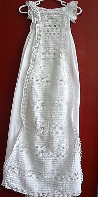 Antique Vintage Christening Gown Extra Long Infant Girl Lace Cotton Cutwork Lace