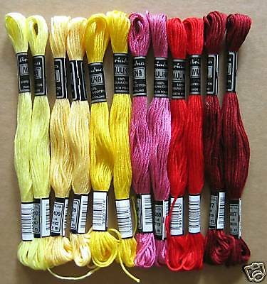 12x Embroidery thread @YELLOW+red tones@ Sticktwist for embroidering -05