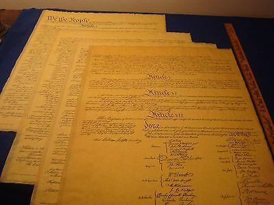 Constitution-United States, w/4 pages  Poster Size 23 x 29 Repro