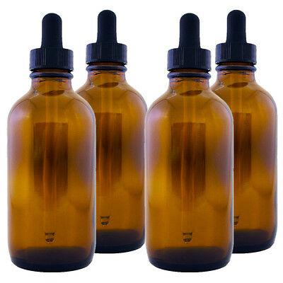 4 fl oz Amber Glass Bottle w/ Glass Dropper - Multi-packs with FREE SHIPPING!