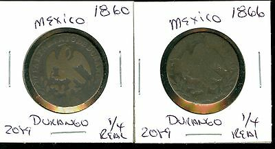 Mexico- 1860 - 1866 - 1/4 Real - Durango - 2 Coins