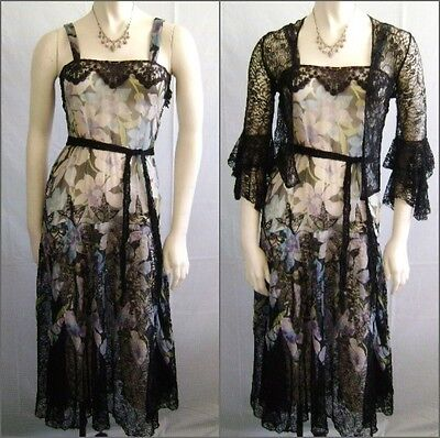 30's Blue Black Green Lavender Floral Print Silk Georgette Garden Party Dress