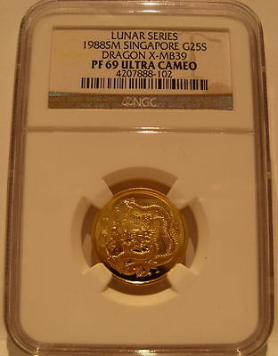 Singapore 1988 Gold 1/4 oz 25 Singold NGC PF-69UC Dragon