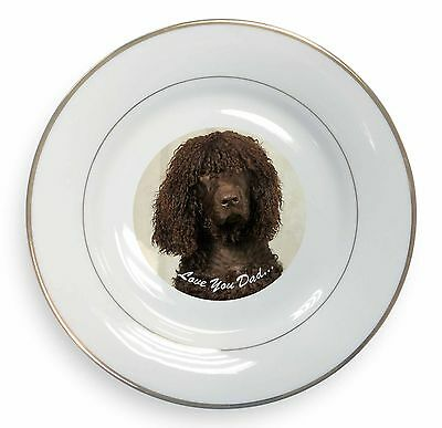 Irish Water Spaniel 'Love You Dad' Gold Rim Plate in Gift Box Christma, DAD-59PL
