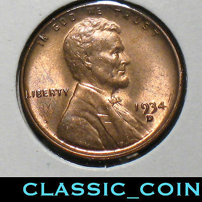 1934-D LINCOLN WHEAT CENT 1c UNCIRCULATED SCARCE DATE FREE SHIPPING