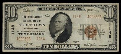 ICOIN 1929 Norristown Pennsylvania T2 Brown Seal $10 National Note Ch#1148 FINE+