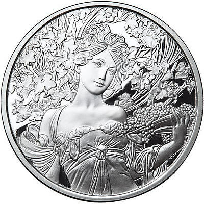Alphonse Mucha Champagne White Star 1 Oz Silver Coin #4 In Series Anonymous Mint