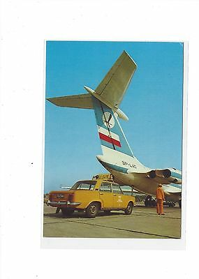 LOT Polish Airlines issued IL-62  cont/l postcard  #4