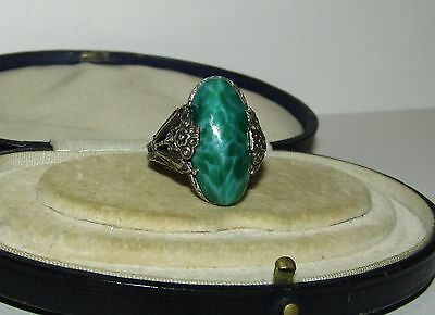 Beautiful, Antique, Chinese Sterling Silver Ornate Ring With Natural Jade Gem
