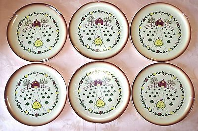 "Vintage Brock California COUNTRY LANE Brown 6 Dinner Plates 10.75"" Mule Cart"