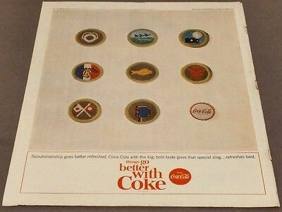 Vintage 1964 Coca-Cola Bottle Cap and Boy Scout Patches Print Ad Rare Original