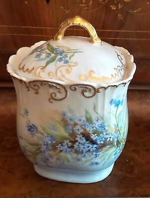 Antique French Porcelain Biscuit Jar With Blue For Get Me Not's Gold Accent