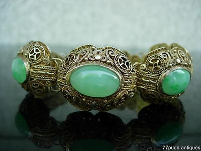 Lovely Antique Chinese Gilt Silver And Carved Apple Green Jade Bracelet