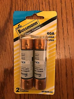 Brand New Cooper Bussmann Fuses 60A General Purpose 2 pack BP/NON-60