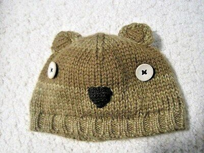 Old Navy Size XS Infant Baby Knit Hat 0-3 MONTHS Newborn Brown Bear Ears