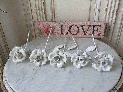 GORGEOUS Collection of 5 Large Old Vintage PORCELAIN WHITE ROSES & Tole Leaves