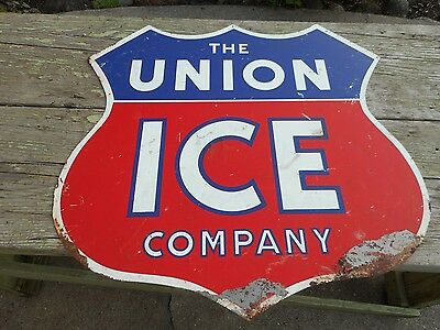 Vintage UNION ICE COMPANY Advertising Shield Shaped Metal SIGN