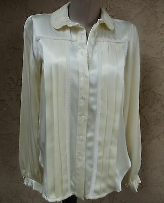 Vintage 70's Jessica's Gunnies Satin Victorian Pleated Lace Blouse Shirt*Medium