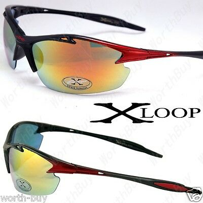 New Red X-loop Fire Mirrored Lens Mens Sports Sunglasses Rectangular Shades Wrap