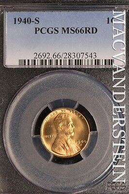 1940-S Lincoln Wheat Cent- Pcgs Ms66-Rd !! Red !! #sl10283