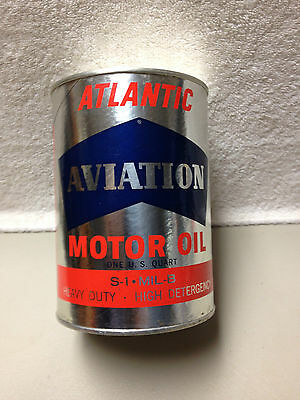 Very nice vintage 1 qt. Atlantic Aviation motor oil can gas service station NOS