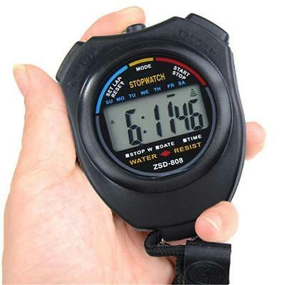 Stop Watch LCD Digital Stopwatch Professional Chronograph Timer Counter Sports Q