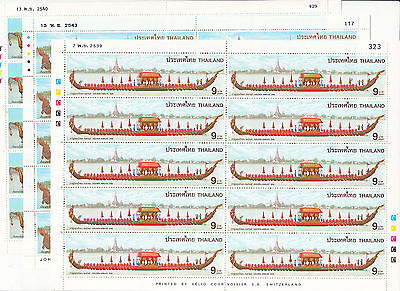 Thailand - 1996,1997 and  2000 Royal Barges sheetlets of 10 MNH, sg cat £66.50