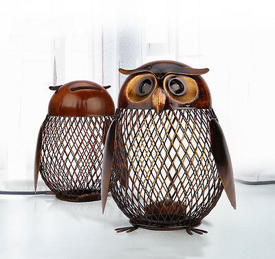 Owl Metal Iron Art Sculpture Coin Saver Box Piggy Bank Money Pot Home Decor