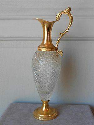 Vintage French Cutted Glass ABSINTHE WINE ALCOHOOL Pitcher EWER