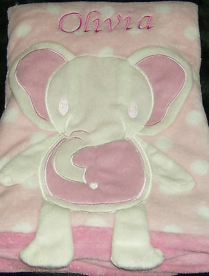 Personalised Elephant Baby Blanket Soft Fleece Cute 3D Effect Pink Gift Girl