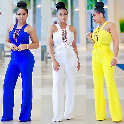 Summer Women Solid Sleeveless Jumpsuit Long Trousers Clubwear Playsuit Romper