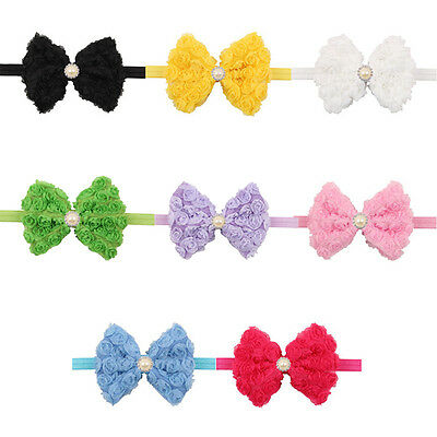 Baby Girls Flower Hairband Soft Lace Bow Elastic Headband Hair Accessories Band