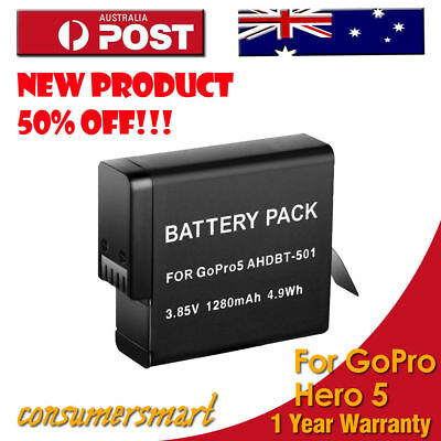 GoPro 1280mAh Battery Pack AHDBT-501 For Go Pro Hero 5 Black Hero5 Camera AU
