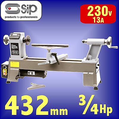SIP 01936 Variable Speed Cast Iron Midi Wood Turning Lathe 432mm B/C bowl plate