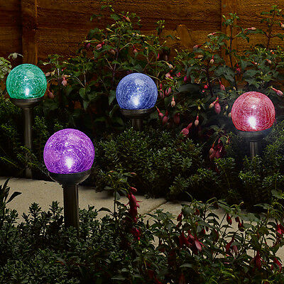 Set Of 4 Outdoor Garden Solar Colour Changing Rainbow Globe Led Stake Lights