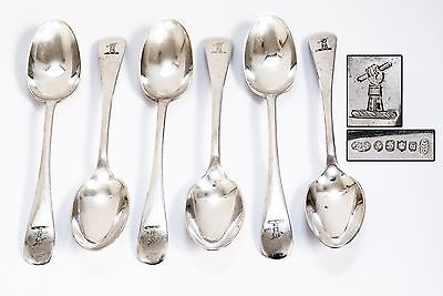 Antique Set of 6 Silver Plate Spoons with Family Crest (Hand Holding Scroll)