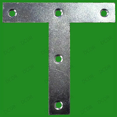 """12x 100mm (4"""") Tee Plates T Mending Bracket Brace Attach Support Fixing Joining"""